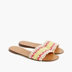 NWT J. Crew Slide Sandals in Multi-Colored Raffia